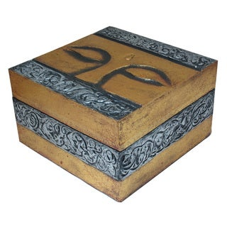 Hand-Carved Buddha Eyes Wooden Box (Indonesia)
