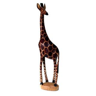 Hand-Carved Wooden Giraffe Statue (Kenya)