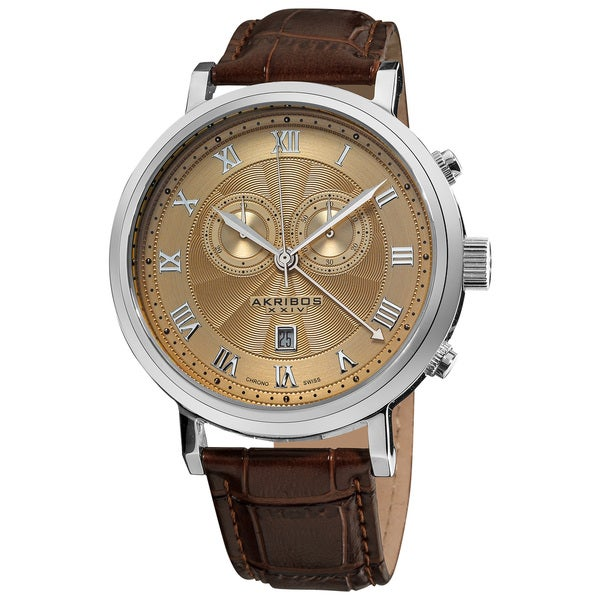 akribos xxiv s brown leather swiss collection