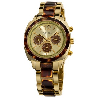 August Steiner Women's Swiss Quartz Multifunction Tortoise and Gold-tone Watch