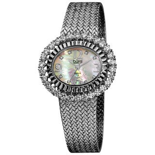 Burgi Women's Mother of Pearl Diamond Mesh Bracelet Watch