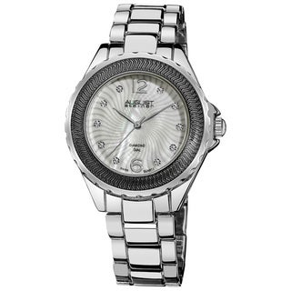 August Steiner Women's Genuine Diamond Mother of Pearl Bracelet Watch in Silver-Tone Finish