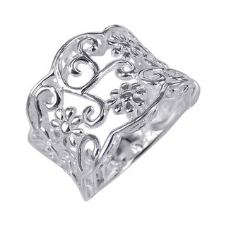 Sterling Silver Gorgeous Floral Filigree Vines Ring (Thailand)