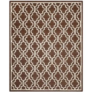 Safavieh Handmade Moroccan Cambridge Dark Brown Wool Rug (9' x 12')
