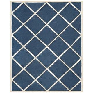 Safavieh Handmade Cambridge Moroccan Diamond Pattern Navy Wool Rug (8' x 10')