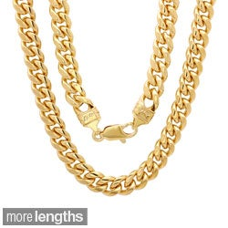 Sterling Essentials 14k Gold Overlay 5.5mm Men's Cuban Link Chain (22-24 inches)