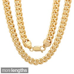 Sterling Essentials 14k Goldplated Silver 7.5mm Men's Cuban Link Chain (22-30 inches)
