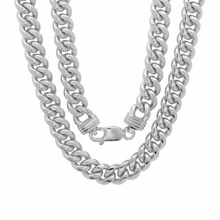 Sterling Essentials Rhodium-plated 9mm Cuban Link Chain (22-30 inches)