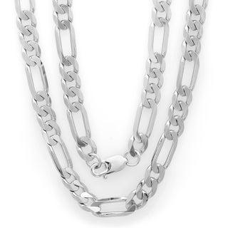 Sterling Essentials Rhodium-plated Men's Diamond-cut Figaro Chain