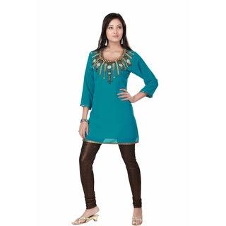 Turquoise Fine Georgette Kurti Tunic (India)