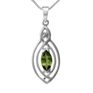 Sterling Silver 'Classic Celtic Knot' Marquise Natural Peridot Gemstone Necklace (Thailand)