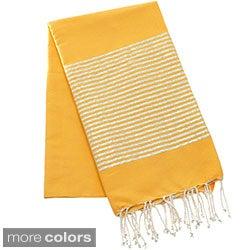 Authentic Fouta Natural Cotton Towel with Silver Lurex Stripes (Tunisia)