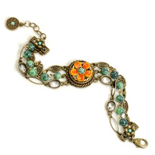 Sweet Romance Bronzetone Tangerine Flower Glass Link Bracelet