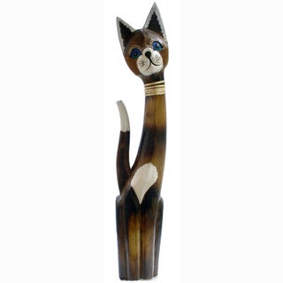Hand-Carved Cat Figurine Rattan Bow Tie (Indonesia)