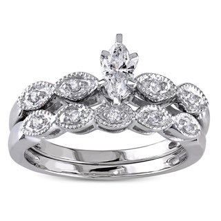 Miadora 14k White Gold 1/3ct TDW Diamond Bridal Ring Set (G-H, I1-I2)