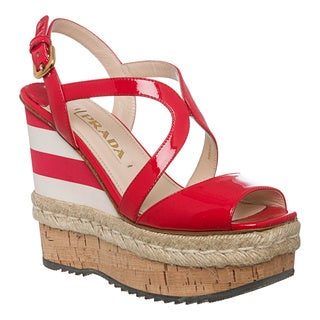 Prada Women&#39;s Red Patent Leather Striped Wedges