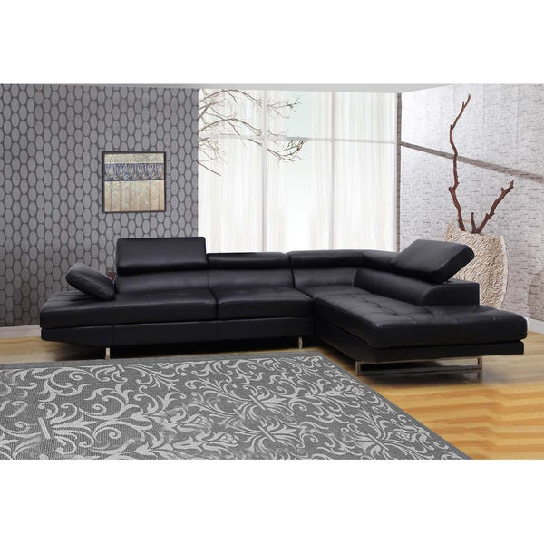 black bonded 2 piece leather sectional overstock With 2 piece black leather sectional sofa
