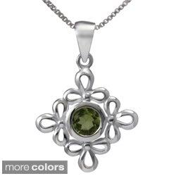 Sterling Silver Floral Gemstone Necklace (Thailand)