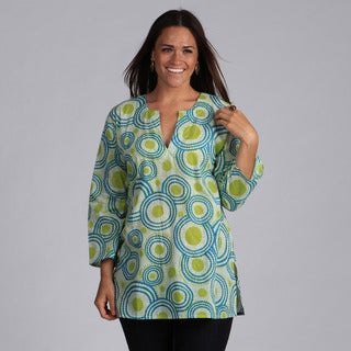 Green and Blue Circles Cotton Tunic (India)