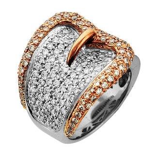 Sonia Bitton Designer 14k Gold 2ct TDW Pave Diamond Buckle Ring (G-H, SI1-SI2)