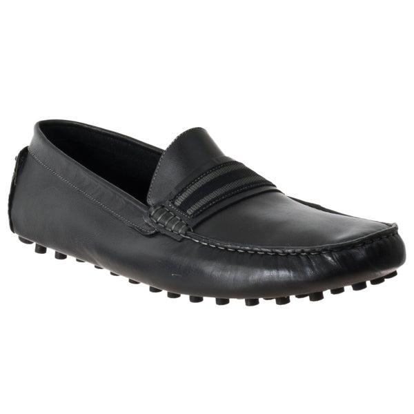 Steve Madden Men's 'Marra' Black Leather Moc-Toe Driver Shoes