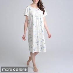 La Cera Women's Floral Printed 4 Button Front Ribbon Trim Gown