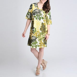 La Cera Women's Yellow Leaf Print V-neck Cover Up