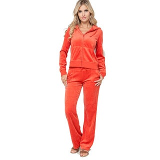 Stanzino Women's Orange 2-piece Velour Set