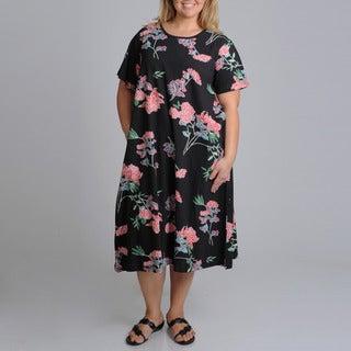 La Cera Women's Plus Size Black Floral Print A-line Dress
