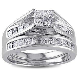 Miadora 14k White Gold 1ct TDW Certified Diamond Bridal Ring Set (G-H, I1)