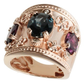 Dallas Prince Gold over Silver London Blue Topaz and Rhodolite Ring
