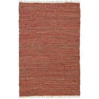 Hand-woven Matador Copper Leather and Hemp Area Rug (9' x 12')