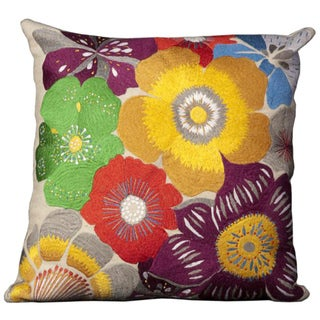 Mina Victory Multicolored Floral Wool Felt 20 x 20-inch Throw Pillow by Nourison