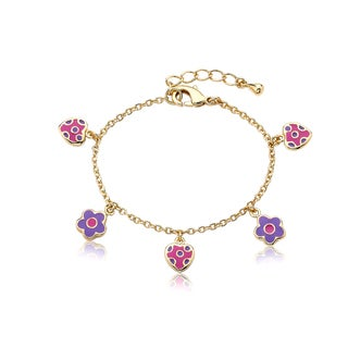 Little Miss Twin Stars 14k Goldplated Children's Flower/ Heart Bracelet