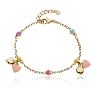 Little Miss Twin Stars 14k Goldplated Children's Heart Charm Bracelet