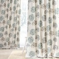 Allium Blue and Grey Printed Cotton Curtain Panel