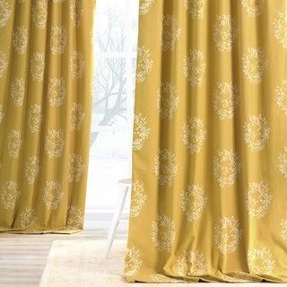 Isles Mustard Printed Cotton Curtain Panel