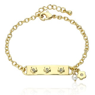 Little Miss Twin Stars Goldplated Children's Pearl and CZ Bracelet (3-4 mm)