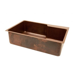 Hammered Copper 33-inch Basin Kitchen Sink with Faucet Ledge