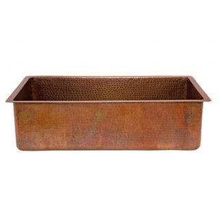 Antique Hammered Copper 33-inch Basin Kitchen Sink