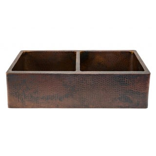 Hammered Copper 33-inch Apron Double-basin Kitchen Sink