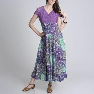 La Cera Women's Purple Lace and Floral Two-tone Maxi Dress