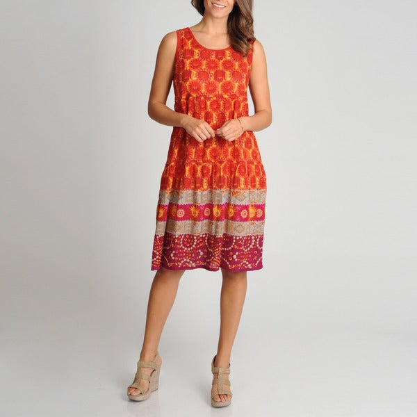 La Cera Women's Red Floral Print Tiered Casual Dress