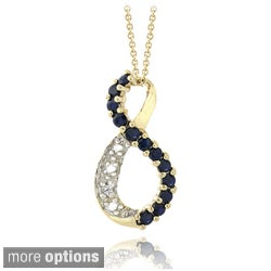 Glitzy Rocks 18k Gold over Silver Sapphire and Diamond Accent Infinity Necklace