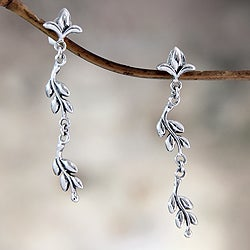 Sterling Silver 'A New Leaf' Earrings (Indonesia)