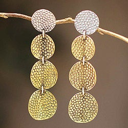 Sterling Silver and Bronze 'Radiant Elegance' Earrings (Peru)