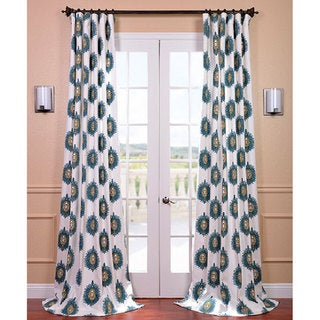 Teal Mayan Printed Cotton Curtain Panel