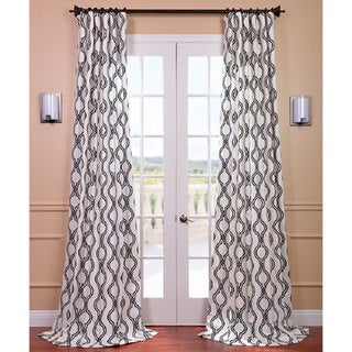 Ogee Black Printed Cotton Curtain Panel