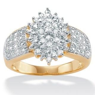 PalmBeach 18k Gold over Silver 1/4ct TDW Diamond Ring (H-I, I2-I3)