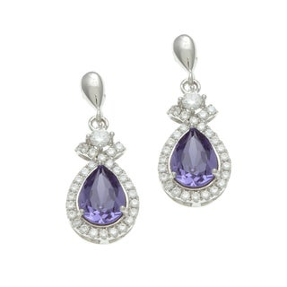Sterling Silver Simulated Tanzanite and Cubic Zirconia Teardrop Earrings